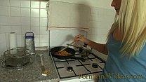 blonde girlfriend fucked in the kitchen