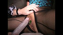 Big clit cougar Eva cums with clips on her cunt...