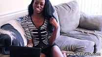 Slender black girlfriend pussy play