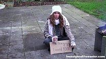 Homeless teen fucks granddad in the park for li...