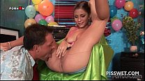 Piss party tramp gets fucked hard in her nylon ...
