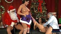 Latina babes with big boobs fuck Santa and his ...