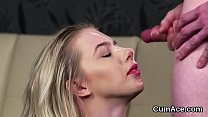 Wicked bombshell gets cum shot on her face gulp...