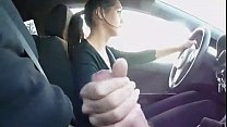 StepSister jerks brother while driving-see more...