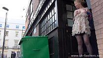 Blonde amateur exhibitionist Amber West upskirt...