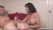 Brunette Milf Topless Handjob