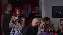Redhead made squirt in public caffe