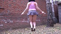 Fitness and striptease. Jumping rope and treadm...