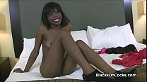 Kinky amateur black teen on cock