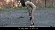Skinny babe harsh treated in outdoor bdsm