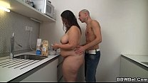 Horny dude drills this hot fatty at the kitchen Thumbnail