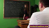 British schoolgirl facialized by teacher
