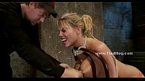 Blonde whore immobilized in kinky sex