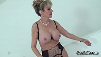 Adulterous english mature lady sonia displays her oversized boobs
