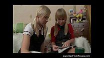 Russian Lesbian Teen Sisters Strapon Fun Thumbnail