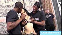 Big boob wife sucking 2 black monster cocks