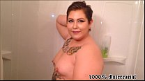 Chubby White Tattoo Teen Sucks BBC in Shower - DV