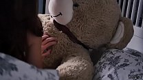 Young Teen student and daddy teddy bear morning sex with cum in mouth