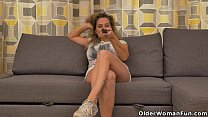 Busty milf Ameli gets bored watching TV and rub... Thumbnail