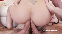 Skinny slut Lola Shine 7on1 Double Anal GangBan...
