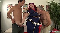 Sexy redheaded plumper Eliza Allure gets double...