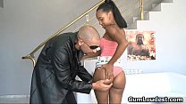 Sexy ebony babe gets horny getting her
