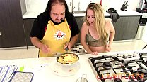 CUM Kitchen: Ron Jeremy fucks young blonde teen...