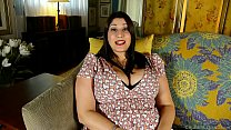 Beautiful busty BBW brunette talks dirty and fu...