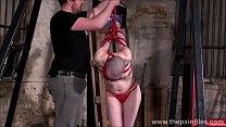 Bald submissive Erynn Rose suspension bondage a...