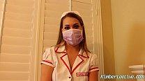 Nurse Kimber Lee Gives Handjob in her Purple Latex Gloves! Thumbnail