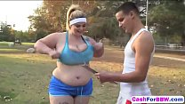 Fat blonde chick with massive tits slammed hard...