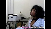 Milf black babe hairy pussy fucked hard by youn...