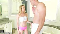 Angel Smalls does footjob on her step-brother