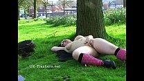 Outdoor flashing and public masturbation of fat...