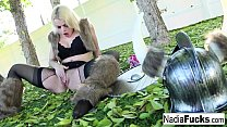 Viking Nadia plays wtih her pussy in the forest