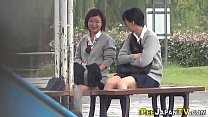 Asian teen public pissing