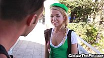 Tiny teen in uniform selling cookies gets creampie