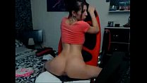 Hot young brunette rides dildo chair - www.newa...