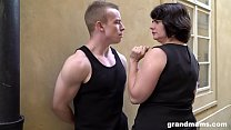 Fat mature wife pays young boy 50 Euros for a blowjob Thumbnail