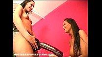 Giant strapon dildo makes her squirt Thumbnail