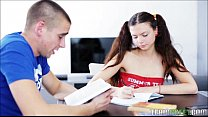 Too Much Studying Makes Pigtailed Teen Horny Fo...