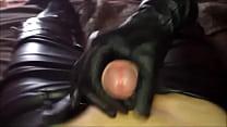 Leather gloves cum fetish