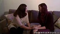 Sweet tranny Magdalene gets dirty with her stud...