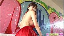 Anri Sugihara has big tits in red dress