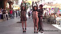 Slaves in see through dresses in public