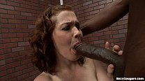 Cute MILF Takes A Big Black Dick In Her Hairy P...