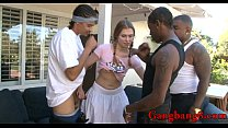 Teen babe anal fucked by big black cocks