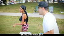 TheRealWorkout - Curvy Ebony Rides White Cock A... Thumbnail