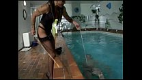 cruel ballbusting in the pool