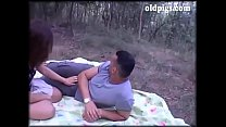 Dirty threesome in the woods with two men